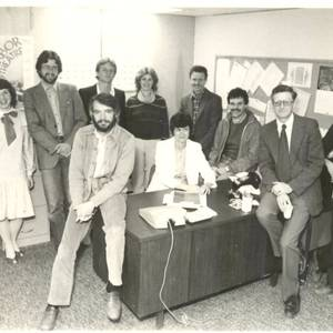 The staff of Arbor Theatre, back in the 80s. Note the lack of computers. From L to R back row: Warren Hubbard, Glenda MacFarlane, me, Robin Mason, Louise Lynch, John Plank, Tim Chapman. Front Row: Rod Smith (with beard), Charlene Zaleski, Michael Preston and Sam Hadawi.