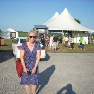 The lovely and talented Beverley Cooper, author of Innocence Lost and other plays, at the Big Tent at Rosehall Run Winery, in Prince Edward County. She was there to see Test Drive. August 2014.