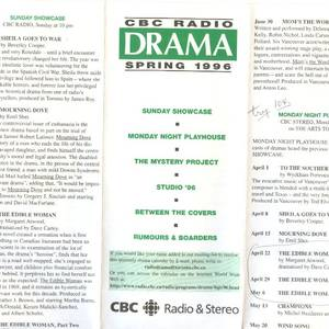 This is a little heart-breaking in light of the recent decision to nuke all radio drama from CBC. It was not that long ago that CBC ran a full program of radio drama, at a number of time slots, some long-form, some shorter. My involvement with 'The Edible Woman' began with this radio adaptation, which was part of a series of radio plays adapted from well-known novels.