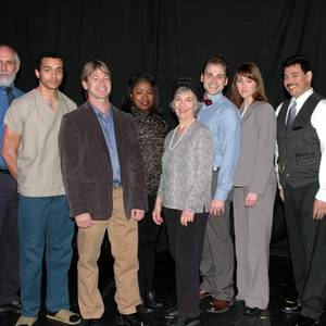 The cast of Twelve Hours, Columbus 2014. From Left to Right: David Fawcett, Taylor Martin Moss, Stephen Woosley, Chiquita Mullins Lee, Ellen Nickles, Nick Lingnofski, Emily Bach and Glen Anthony Garcia. Kathy Burkman directed. Photo by Allan Burkman.