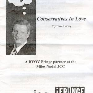 The flyer for the Fringe and Next Stages production of 'Conservatives in Love'. Mark Brownell, designer.