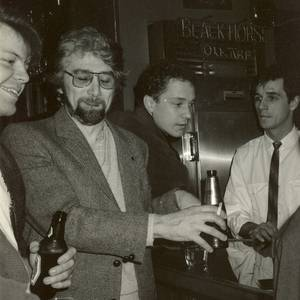 The Playwrights Union had occasional socials in the late 1980s. This one was at The Fare Exchange in Toronto, and L to R: Pat Langner, Alf Silver, Lawrence Jeffery and an unidentified bartender.