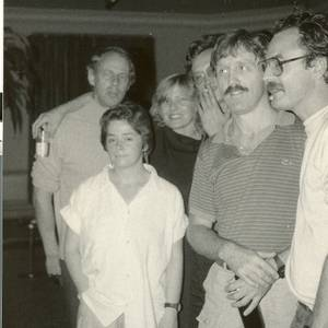 Some of Canada's finest at a reception for New Zealand playwright Roger Hall at The Great Hall, circa 1985. Left to Right: Hall, Jane Buss (Executive Director, Playwrights Union of Canada), and Playwrights Michael Hollingsworth, Bryan Wade and Paul Ledoux. Standing front: Lisa Dimson, the Union's book designer.
