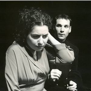 Esther Arbeid and Alex Poch-Goldin, in 'A View From The Roof', 1996 in the Tarragon Theatre Extra Space.