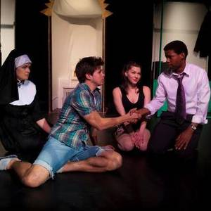 The cast of Newface's production of 'Into' at Canadian Stage Berkeley Street, November 2012. From L to R: Lea Russell, Timothy Eckmier, Roselie Williamson and Simeon Taole. Aaron Rothermund directed and Dave Crawford was producer.