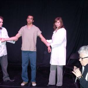 Kathy Burkman in action, at rehearsals for Twelve Hours at Columbus' Garden Theatre. Actors from L to R are Nick Lingnofski, Taylor Martin Moss, and Emily Bach.