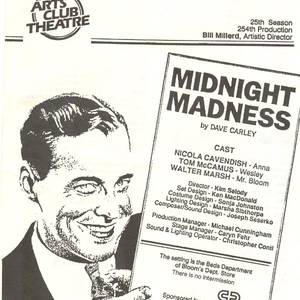 Midnight Madness - Arts Club (Vancouver) programme