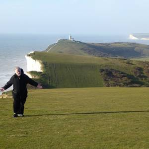When he is not parading around the white cliffs of Dover, Randy Read is artistic director of New Stages Peterborough, a theatre that produces Canadian and international plays. Randy recently took a well-deserved holiday and is clearly enjoying himself at Beachy Head. Apparently a remarkable number of people travel to Beachy Head for less happy reasons, and soon after this picture was taken Randy was approached by a special Chaplain who was worried he was pondering a leap. Randy wasn't, the Chaplain was relieved, and now our favourite cliff dweller is safely back in Canada.