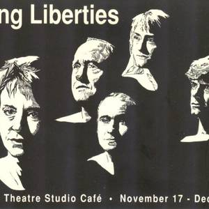 The cast of the Factory Theatre production of Taking Liberties. L to R: Dixie Seatle, Gary Reineke, Michael Caruana, Stephanie Morgenstern and Tom McCamus. Artwork by Bonnie Howells.