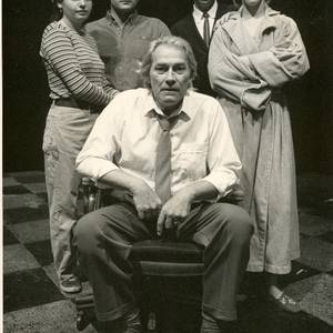 The cast of Taking Liberties, which was produced at Summerworks, Tarragon. From L to R: Esther Arbeid, Jeffrey Smith, Jim Jones and Fiona Highet. Seated: David Fox. Michael Waller directed.