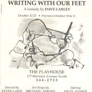 The programme cover for the world premiere of 'Writing with our Feet', which was produced in an old porno movie palace in Hamilton.