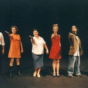 The cast of the production of The Edible Woman, at the University of Michigan, circa 2002. They insisted on taking their curtain call a la Celine Dion.